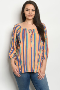 C34-B-1-T933TX RUST MULTI PLUS SIZE TOP 2-3-3