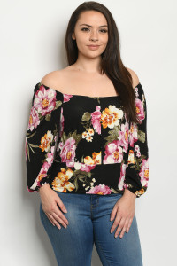 C28-B-3-T953TX BLACK FLORAL PLUS SIZE TOP 2-2-2