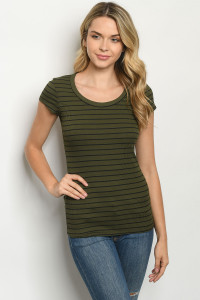 C91-A-1-T9151 OLIVE STRIPES TOP 2-2-2