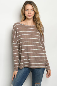 C89-A-1-T3061 BROWN STRIPES TOP 2-2-2