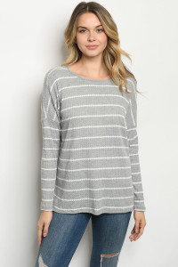 C89-A-1-T3061 GRAY STRIPES TOP 2-2-2