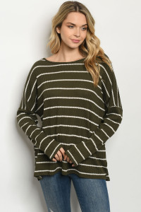 C89-A-1-T3061 OLIVE STRIPES TOP 2-2-2