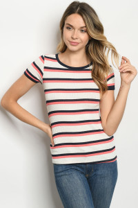 C87-B-1-T2315 IVORY STRIPES TOP 2-2-2