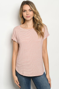 C81-A-1-T48792 OATMEAL RED STRIPES TOP 2-2-2