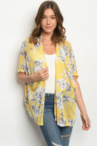 C80-A-1-C6128 YELLOW FLORAL CARDIGAN 1-2-4