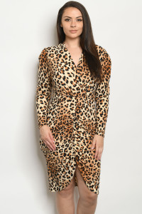C78-A-1-D3034X TAUPE LEOPARD PRINT PLUS SIZE DRESS 2-2-2