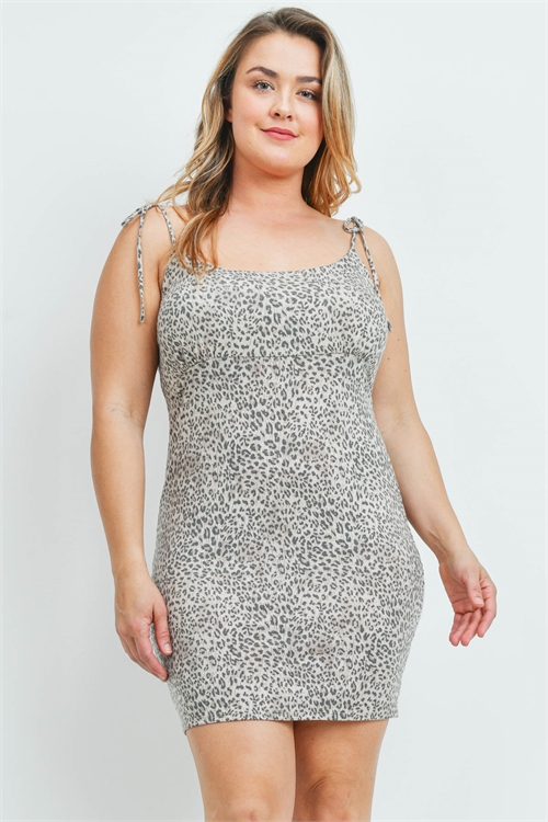 C80-A-1-D3194X TAUPE ANIMAL PRINT PLUS SIZE DRESS 2-2-2