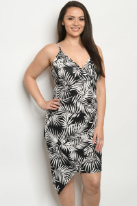 C88-A-1-D9773X BLACK WHITE PLU SIZE DRESS 2-2-2