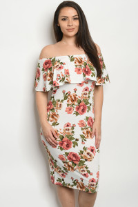 C87-A-1-D31891X IVORY FLORAL PLUS SIZE DRESS 2-2-2