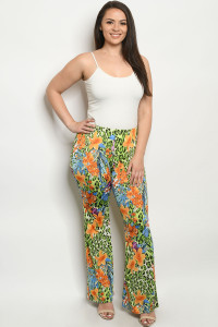 C92-A-1-P05839X GREEN ORANGE PLUS SIZE PANTS 2-2-2