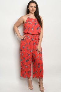 S23-9-3-J10258X RED PRINT PLUS SIZE JUMPSUIT 2-2-2
