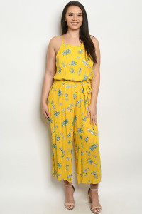 S22-10-1-J10258X YELLOW PRINT PLUS SIZE JUMPSUIT 3-2-2
