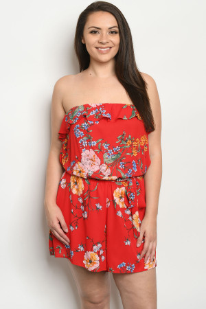 S23-8-1-R9622X RED FLORAL PLUS SIZE ROMPER 2-2-2