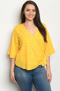 S23-8-1-T10001X YELLOW WHITE PLUS SIZE TOP 2-2-2