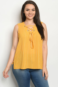 S22-2-1-T10103X MUSTARD STRIPES PLUS SIZE TOP 2-2-2