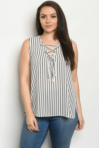 S22-2-1-T10103X OFF WHITE STRIPES PLUS SIZE TOP 2-2-2