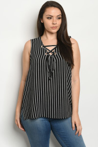 S24-8-2-T10103X BLACK STRIPES PLUS SIZE TOP 2-2-2