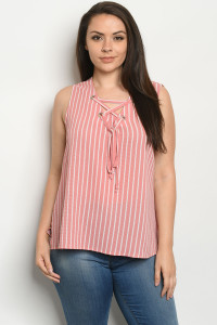 S24-8-2-T10103X PINK STRIPES PLUS SIZE TOP 2-2-2