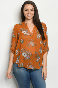 S22-10-1-TZB5486X RUST FLORAL PLUS SIZE TOP 3-2-2