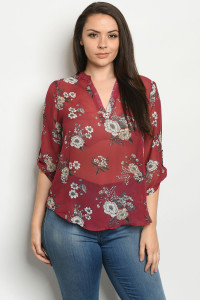 S24-4-2-TZB5486X BURGUNDY FLORAL PLUS SIZE TOP 2-2-2