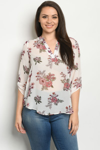 S24-4-2-TZB5486X OFF WHITE FLORAL PLUS SIZE TOP 2-2-2