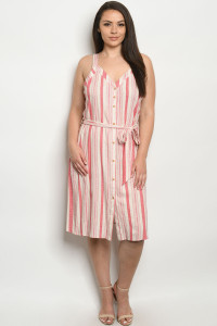 S21-7-3-DZB10139FX CREAM RED STRIPES PLUS SIZE DRESS 2-2-2