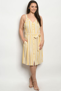S21-7-3-DZB10139FX CREAM YELLOW STRIPES PLUS SIZE DRESS 2-2-2