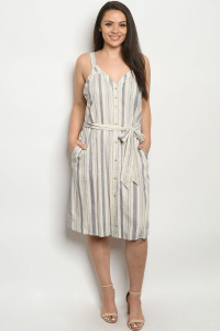 S21-7-3-DZB10139FX CREAM NAVY STRIPES PLUS SIZE DRESS 2-2-2