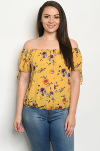 S23-9-2-TZB9517X YELLOW FLORAL PLUS SIZE TOP 2-2-2