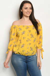 S19-1-1-T9244X YELLOW FLORAL PLUS SIZE TOP 2-2-2