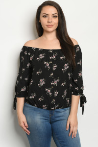 S22-7-1-T9244X BLACK FLORAL PLUS SIZE TOP 2-2-2