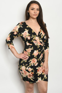 S22-7-1-D9439X BLACK FLORAL PLUS SIZE DRESS 2-2-2