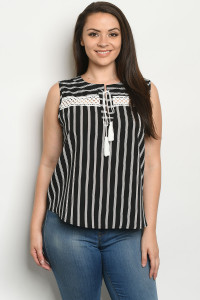 S22-10-1-T10183X BLACK STRIPES PLUS SIZE TOP 3-2-2