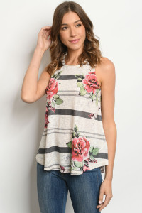 C39-B-1-T535462 OATMEAL WITH ROSES TOP 2-2-2