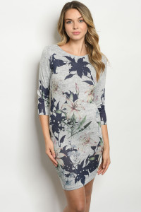 C42-A-1-D721357 GRAY NAVY WITH FLOWER DRESS 3-1-1