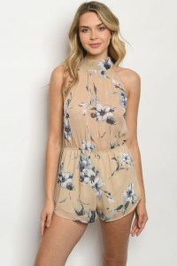 C26-A-1-R3216 BEIGE WITH FLOWERS ROMPER 4-2-1