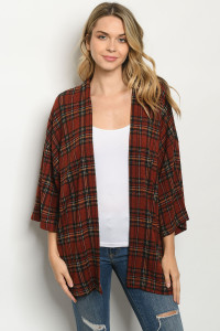 C17-A-3-C4621 RUST CHECKERED CARDIGAN 3-2-1