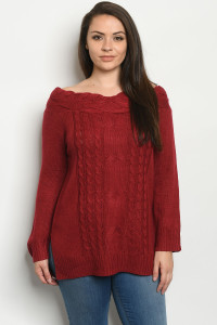 S25-8-1-S1072X BURGUNDY PLUS SIZE SWEATER 3-3