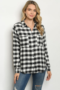 S18-11-1-T1049 BLACK WHITE CHECKERED TOP 2-4-2