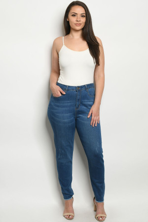S11-15-1-J006X BLUE DENIM PLUS SIZE JEANS 4-4-4