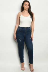 S9-11-2-J005X DARK BLUE DENIM PLUS SIZE JEANS 4-4-4