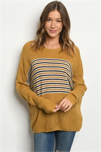 S10-13-2-S1735 MUSTARD STRIPES SWEATER 3-3