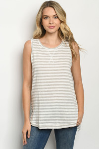 S14-9-3-T0460 GRAY STRIPES TOP 3-2-2