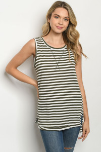 S14-9-3-T0460 OLIVE STRIPES TOP 3-2-2
