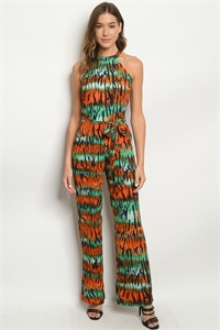 S18-4-2-J50479 GREEN MULTI JUMPSUIT 2-2-2
