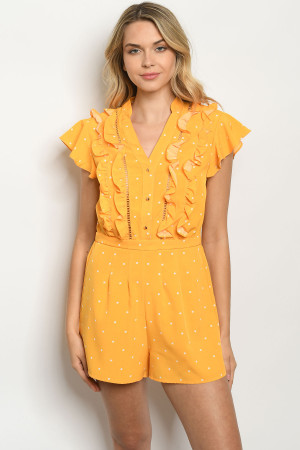 S18-4-1-R81998 YELLOW WITH DOTS ROMPER 2-2-2
