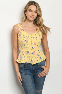 S19-11-4-T11639 YELLOW FLORAL TOP 2-2-2