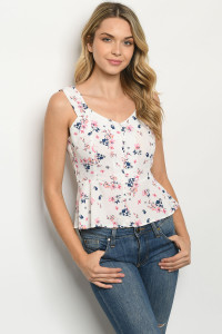 S22-1-2-T11639 OFF WHITE FLORAL TOP 2-2-2