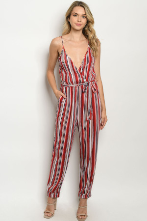 S22-3-1-J5774 RED NAVY STRIPES JUMPSUIT 2-2-2