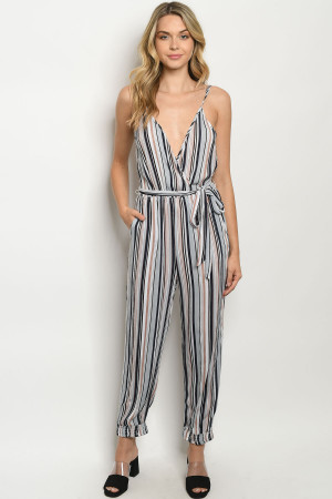 S22-2-2-J5774 NAVY BLUE STRIPES JUMPSUIT 2-2-2
